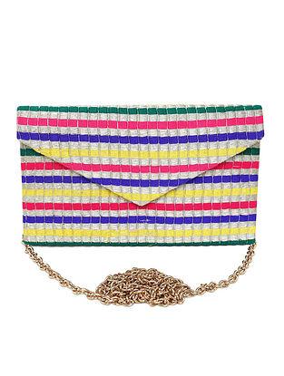 Multicolored Jacquard Fabric Clutch