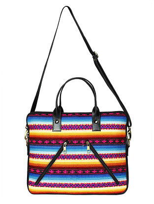 Black-Multicolored Jacquard Laptop Bag