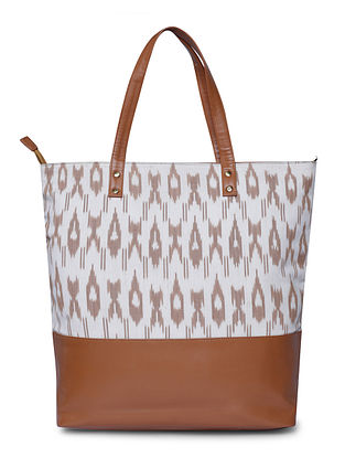 Tan-White Handcrafted Cotton Tote