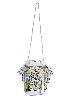 Multicolored Leather Bucket Bag