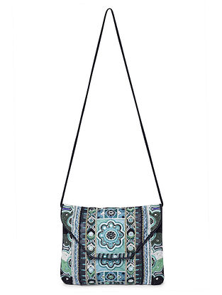 Multicolored Hand-Embroidered Cotton Sling Bag