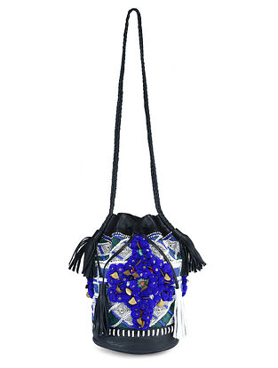 Black-Multicolored Leather Bucket Bag