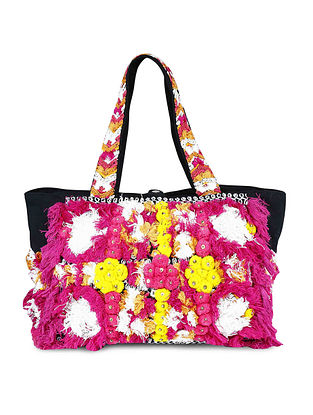 Multicolored Hand-Embroidered Canvas Tote