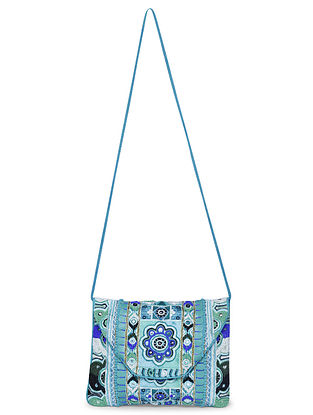 Blue Hand-Embroidered Canvas Sling Bag