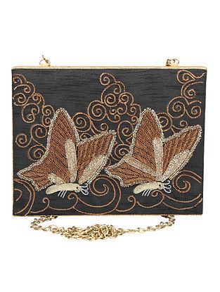 Black-Gold Hand-Embroidered Raw Silk Clutch