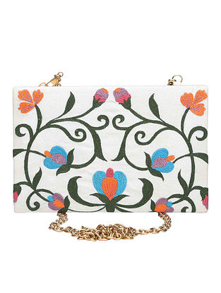 White-Multicolored Machine-Embroidered Raw Silk Clutch