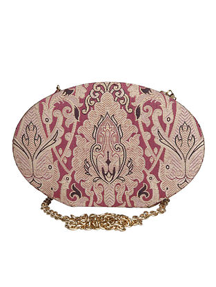 Multicolored Brocade Raw Silk Clutch