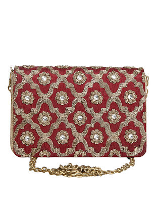 Maroon Hand-Embroidered Raw Silk Clutch