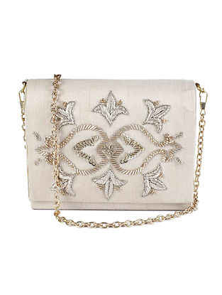 Ivory Hand-Embroidered Raw Silk Clutch