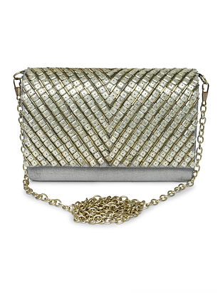 Grey-Silver Hand-Embroidered Raw Silk Clutch