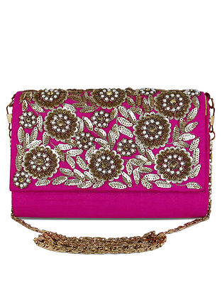 Peach Hand-Embroidered Raw Silk Clutch