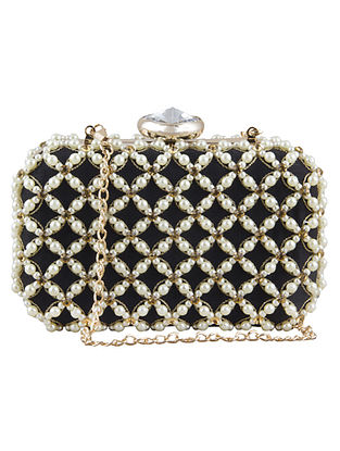 Black Hand-Embroidered Raw Silk Clutch with Pearls