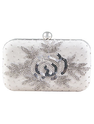 Silver Hand-Embroidered Raw Silk Clutch