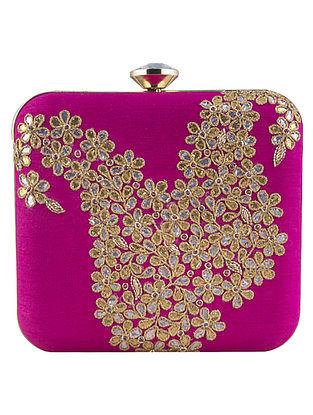 Pink Hand-Embroidered Raw Silk Clutch