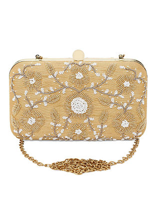 Gold Hand-Embroidered Raw Silk Clutch