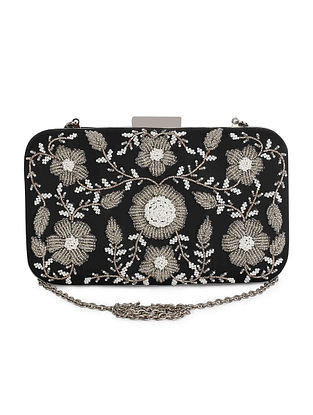 Black-SIlver Hand-Embroidered Raw Silk Clutch