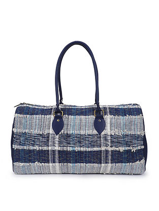 Blue White Handcrafted Jacquard Duffle Bag