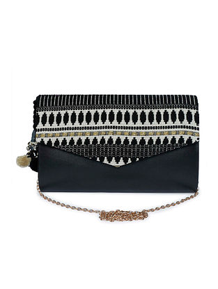 Black White Handcrafted Jacquard Sling Bag