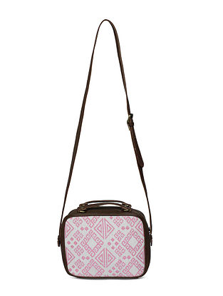 White Brown Handcrafted Jacquard Sling Bag