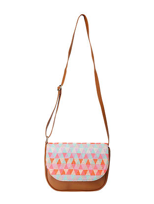 Tan Multicolored Handcrafted Jacquard Sling Bag