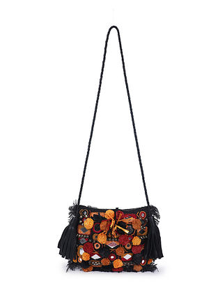 Black Multicolored Handcrafted Jute Sling Bag