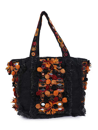 Black Multicolored Handcrafted Jute Tote Bag