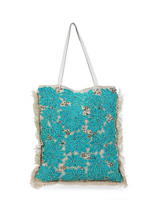 White Blue Handcrafted Jute Tote Bag