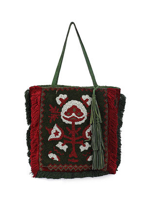 Green Red Handcrafted Beaded Tote Bag