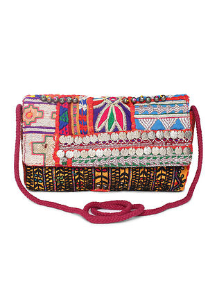 Multicolored Vintage Sling Bag with Coins