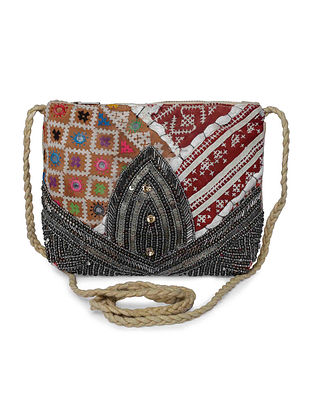 Multicolored Vintage Sling Bag with Sequins and Beads