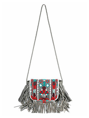 Grey Multicolored Handcrafted Sling Bag with Fringes