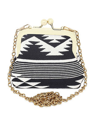 Black White Handcrafted Jacquard Coin Pouch