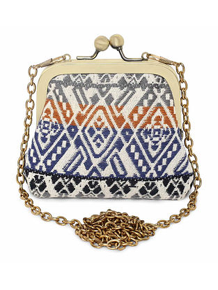 White Multicolored Handcrafted Jacquard Coin Pouch