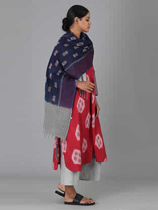 Blue Handwoven Ikat Cotton Stole
