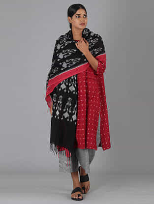 Black Handwoven Ikat Cotton Stole