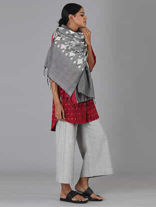 Grey Handwoven Ikat Cotton Dupatta