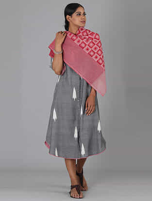 Red Handwoven Ikat Cotton Dupatta