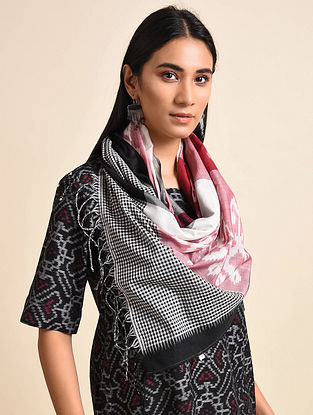 Flower Red White Handwoven Ikat Cotton Stole