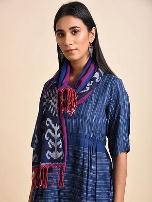 Uzbek Ink Blue Handwoven Ikat Cotton Stole