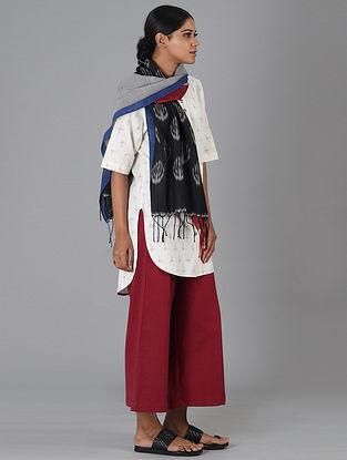 White Handwoven Ikat Cotton Top