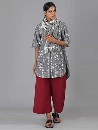 Grey Handwoven Ikat Cotton Top