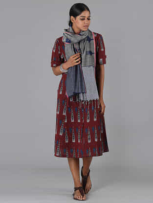 Red Handwoven Ikat Cotton Dress