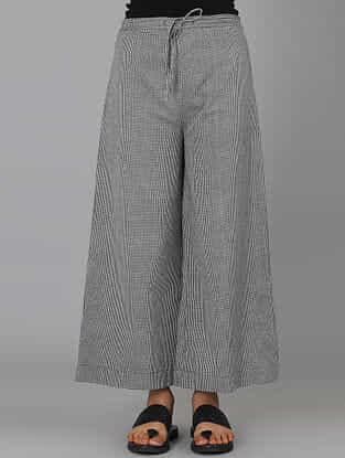 Grey Handwoven Ikat Cotton Palazzos