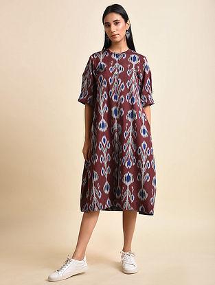 Bell Flower Maroon Handwoven Ikat Cotton A Line Dress