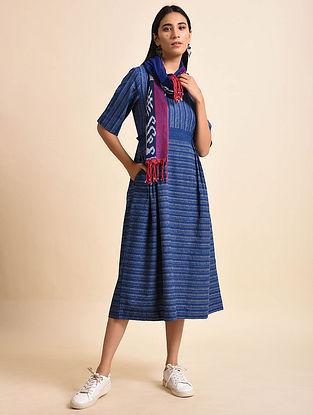 Blue Wire Handwoven Ikat Cotton Anti Fit Maxi Dress
