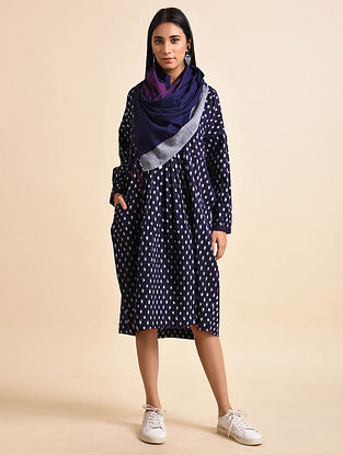 Square Tent Indigo Handwoven Ikat Cotton Maxi Dress