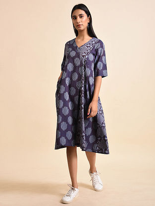 Mix Purple Handwoven Ikat Cotton Wrap Dress