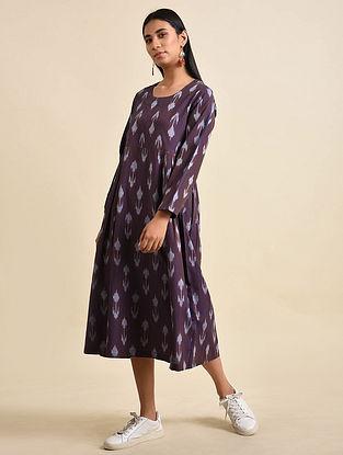 Bud Purple Handwoven Ikat Cotton Maxi Dress
