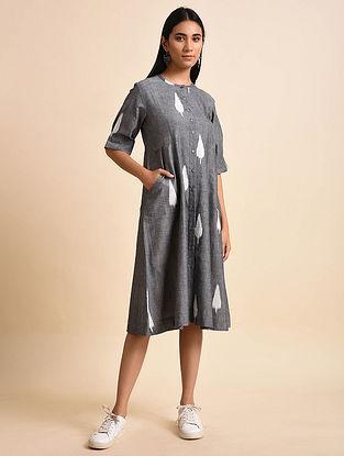 Leaf Panelled Grey Handwoven Ikat Cotton Dress