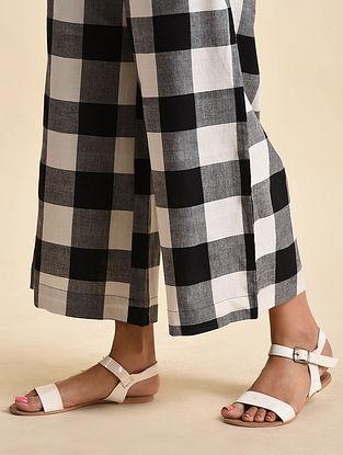 Checkered Black White Handwoven Ikat Cotton Palazzos